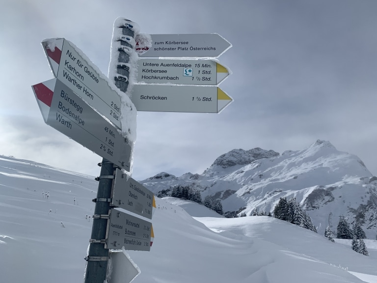 Wandern im Winter in Lech am Arlberg
